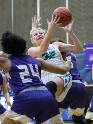 Halee Nieman (32) grabs a rebound during the Montevallo vs UWF women's basketball game at the University of West Florida in Pensacola on Monday, December 18, 2017.