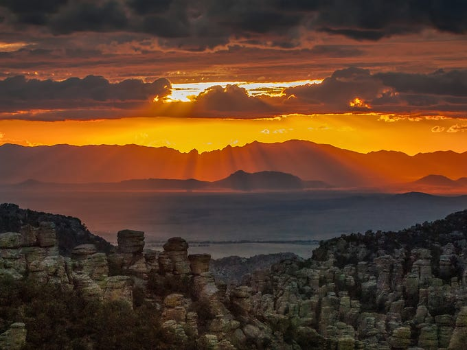A golden curtain falls over Chiricahua National Monument.