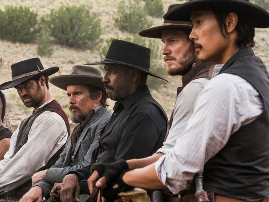 "The benevolent outlaw posse of ""The Magnificent Seven,"" from left, Vincent D'Onofrio, Martin Sensmeier, Manuel Garcia-Rulfo, Ethan Hawke, Denzel Washington, Chris Pratt and Byung-hun Lee"