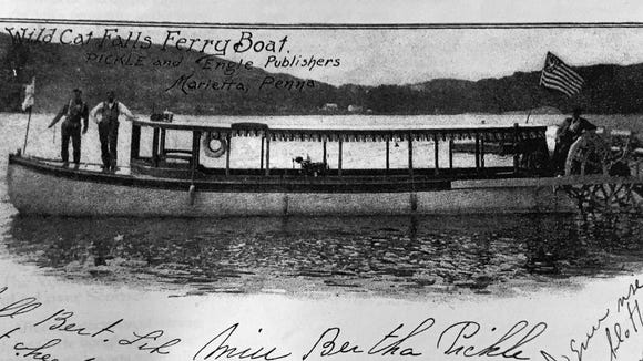 "Wildcat Falls is a bit hard to reach by land. But ""Wildcat Falls Ferry Boat"" solved that problem. The residents of Marietta, across the Susquehanna River, were among the most frequent patrons of ferry service."