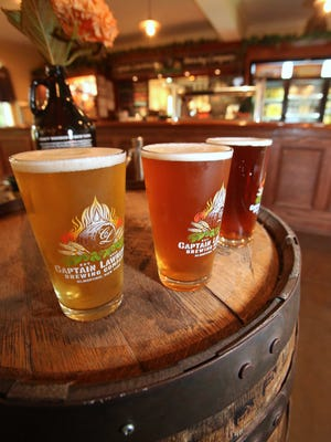 A selection of beers in the tasting room at the Captain Lawrence Brewery.