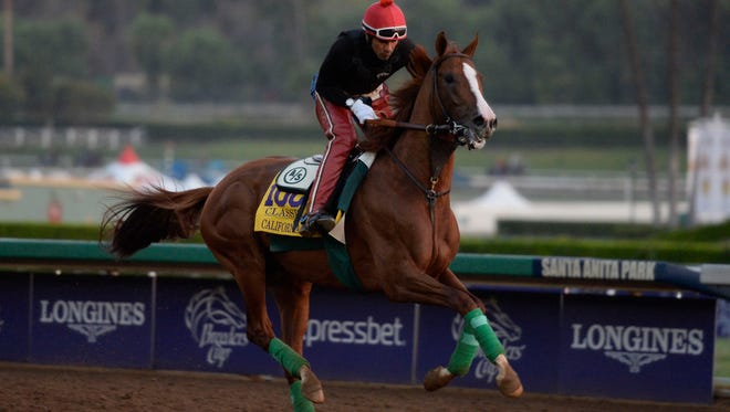 California Chrome works out in preparation for the 31st Breeders Cup Classic on Saturday.