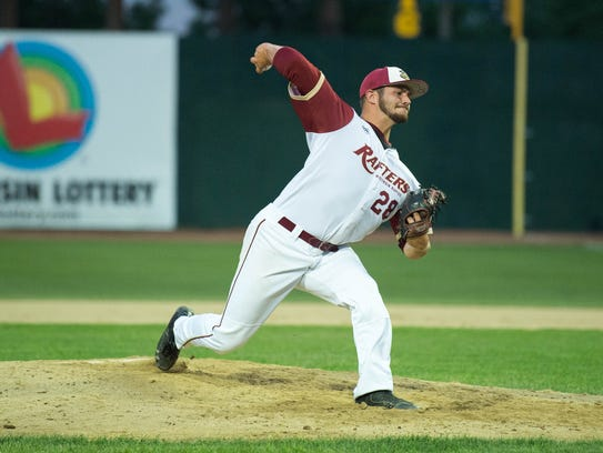 Wisconsin Rapids' Quinn Dipasquake  delivers a pitch