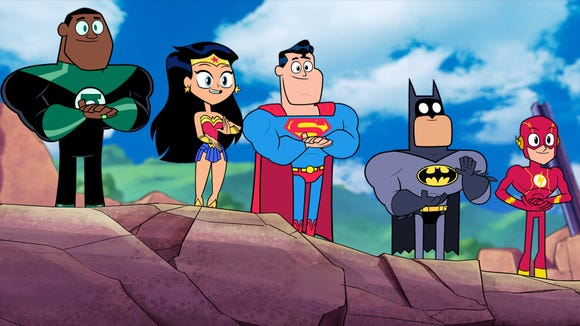 Superman (center, voiced by Nicolas Cage) and the rest
