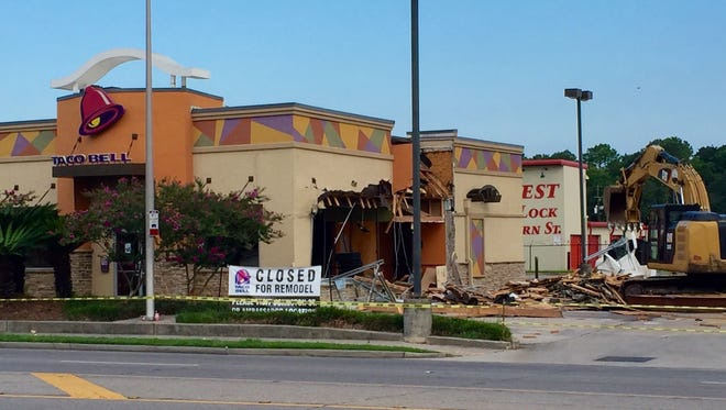 Construction at the Taco Bell on W Congress