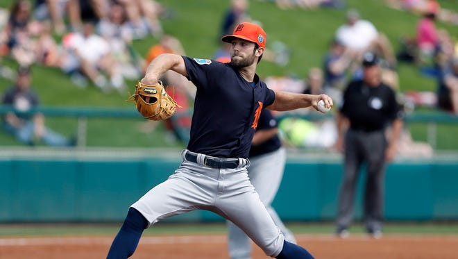 Mar 3, 2016; Lake Buena Vista, FL, USA;  Detroit Tigers starting pitcher Daniel Norris (44) throws a pitch during the first inning of a spring training baseball game against the Atlanta Braves at Champion Stadium.