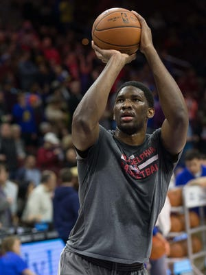 Jan 30, 2016; Philadelphia, PA, USA;  Philadelphia 76ers center Joel Embiid  practices before a game against the Golden State Warriors at Wells Fargo Center. The Golden State Warriors won 108-105. Mandatory Credit: Bill Streicher-USA TODAY Sports