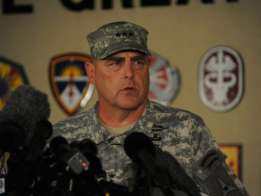 Then-Lt. Gen. Mark Milley discusses the Fort Hood shooting incident at an April 2, 2014 press conference.