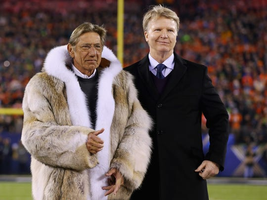 Joe Namath raised eyebrows with his fur coat prior to start of Super Bowl XLVIII between the Denver Broncos and the Seattle Seahawks  at MetLife Stadium on February 2, 2014.