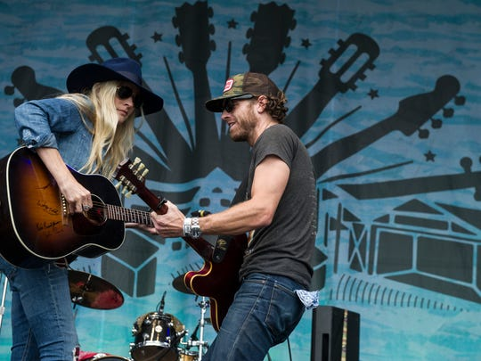 Holly Williams performs with husband Chris Coleman