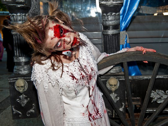 One of the zombies haunting Fright Fest at Six Flags Great Adventure in Jackson.