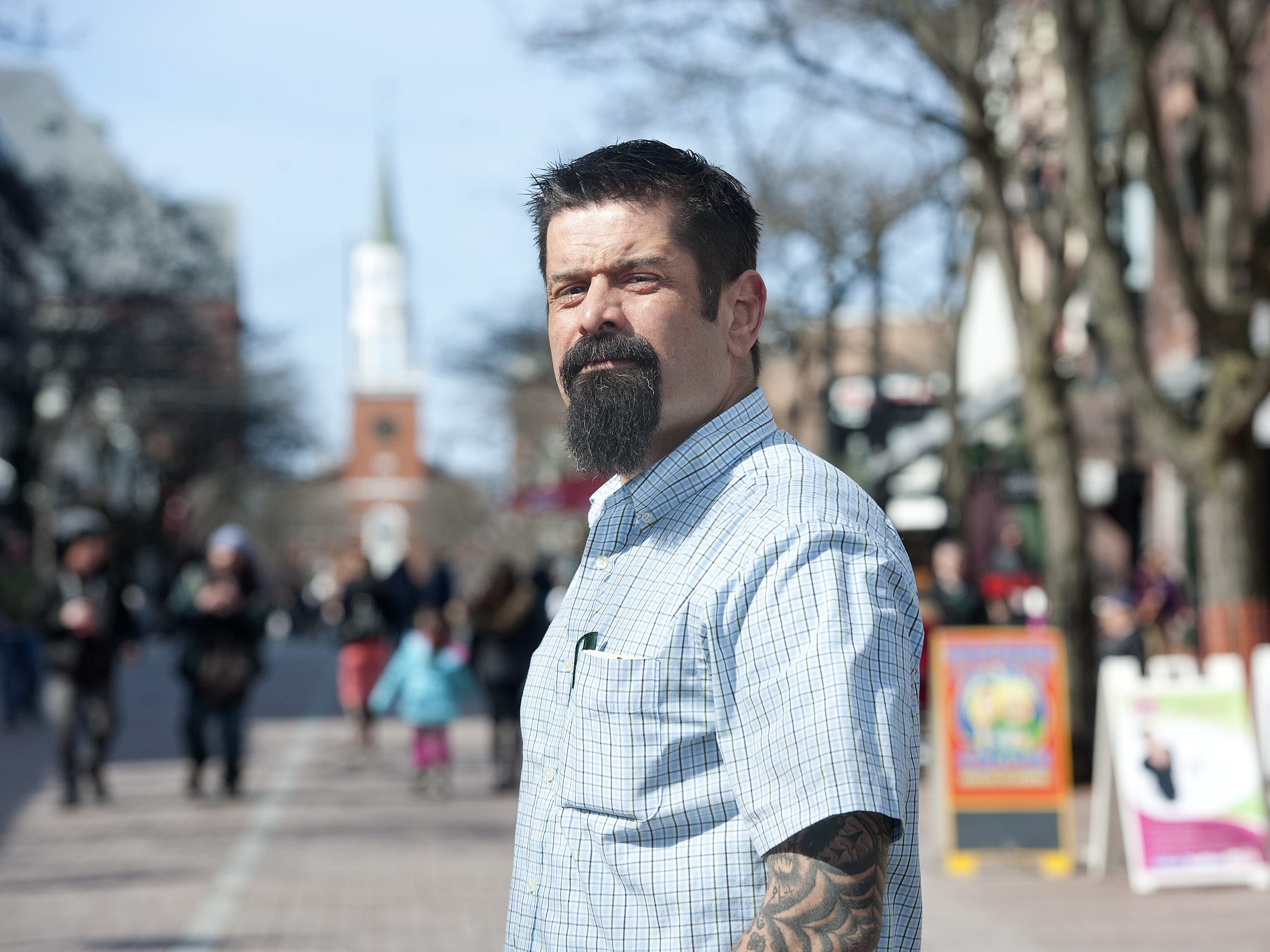 Justin Verette, a member of HowardCenter's Street Outreach Team, works with Burlington Police Department to aid in emergency calls where mental health and social assistance is needed.