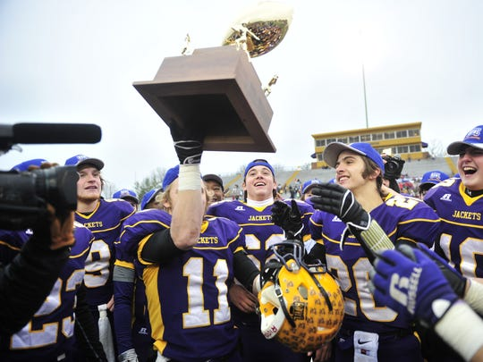 Trousdale County celebrates its 2013 state championship.