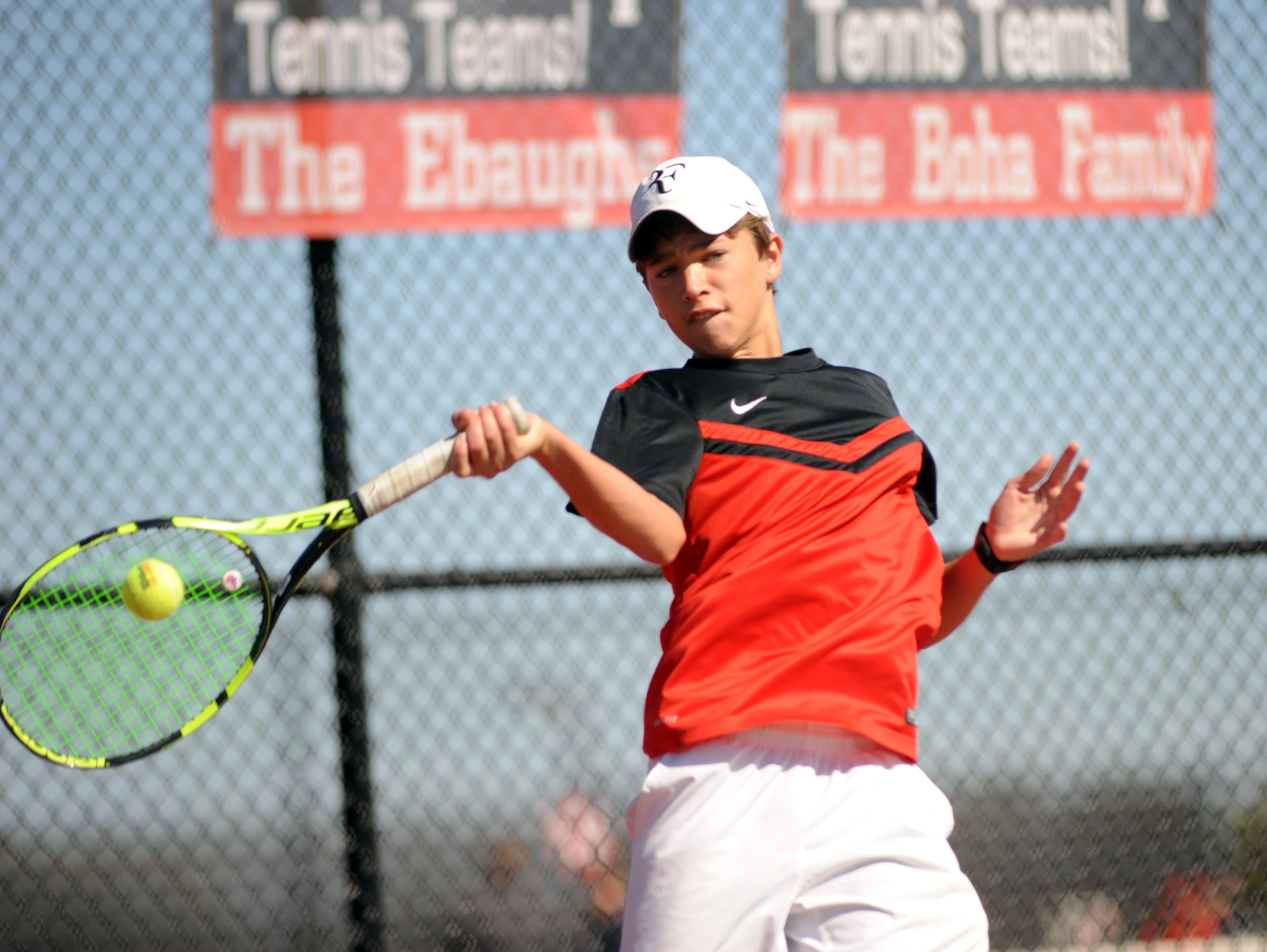 Park Tudor topped Franklin in semistate action Saturday afternoon to advance to yet another state finals. Here Aidan Harris competes against Franklin's Noah Roberts.