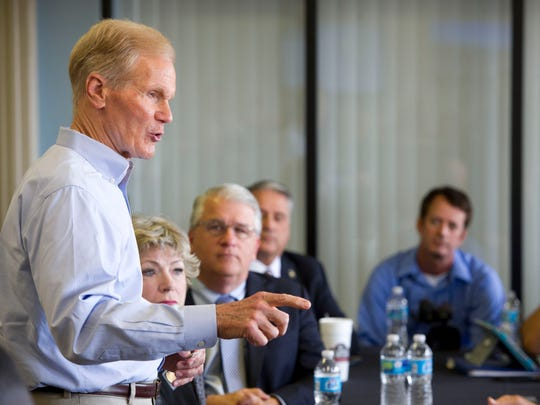 U.S. Sen. Bill Nelson speaks with Treasure Coast officials and environmentalists in February 2016 at Witham Field in Stuart.