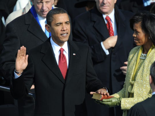 President Barack Obama is sworn in on Jan. 20, 2009.
