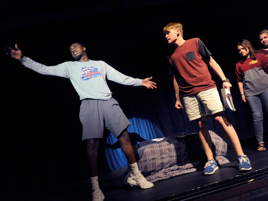 "Jess Westman (second from left) watches Tim Evans as they rehearse ""Spencer: Another New Musical,"" at Abilene Community Theatre, performed three years ago. Westman wrote the show while a high school student."