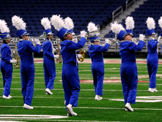 Eden High School Bulldog Band performs during the UIL