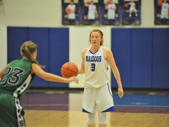 Lydia Tadda takes the ball up court.
