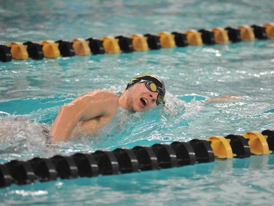 Colonel Crawford's Nic Motter swims the 500 freestyle.