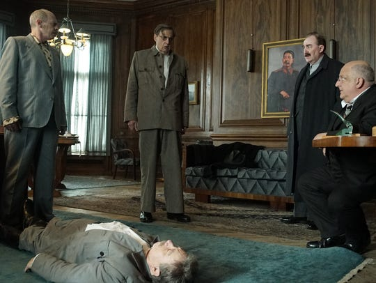"Adrian McLoughlin (on floor) plays Stalin in ""The Death of Stalin."" Steve Buscemi (from left), Jeffrey Tambor, Dermot Crowley and Simon Russell Beale also star."