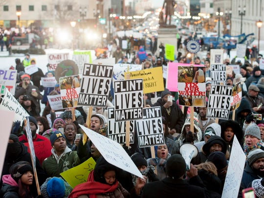 Protests outside the Michigan State Capitol over the Flint water crisis preceded then-Gov. Rick Snyder's State of the State speech in January 2016.