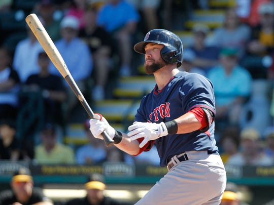 Former MTSU baseball player Bryce Brentz, now an outfielder with the Boston Red Sox, got his first major-league hit last season.