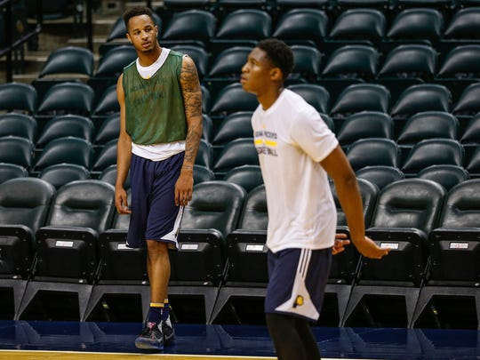 Purdue's Vince Edwards watches as UCLA's Ike Anigbogu shoots during a workout for the Indiana Pacers at Bankers Life Fieldhouse on Monday, May 22, 2017.