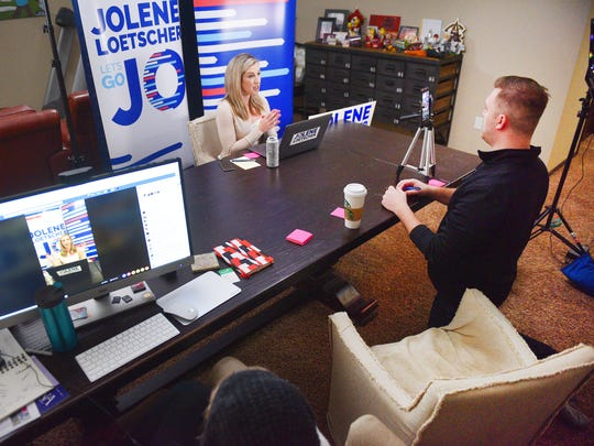 Sioux Falls Mayoral candidate Jolene Loetscher hosts her weekly Facebook Live Friday, Feb. 16, at her home in Sioux Falls. Loetscher has a studio set up in her basement where she hosts her Facebook Live events with  Zach Nistler, campaign manager, and Cassi Lamb, mud mile intern. Each Facebook Live is about 20 to 30 minutes.