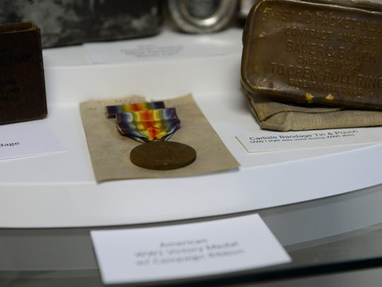 A World War I medal is among the artifacts on display