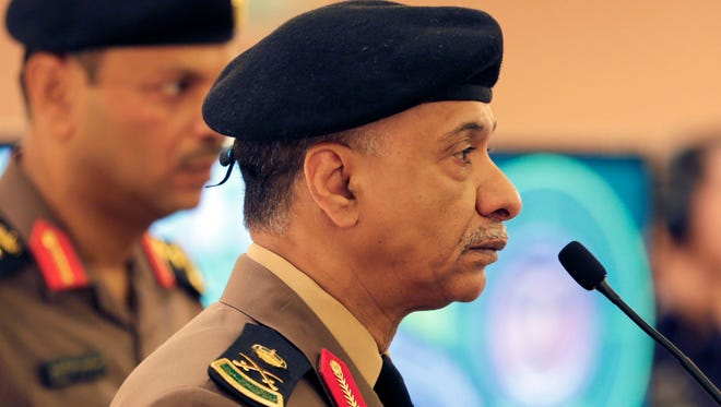 Saudi Interior Ministry spokesman Maj. Gen. Mansour al-Turki listens to journalists' questions during a press conference in Riyadh, Saudi Arabia, on April 24, 2015.
