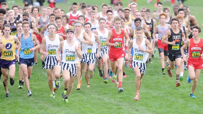 Runners take off at the Stark County Cross Country Championships at GlenOak in 2018.