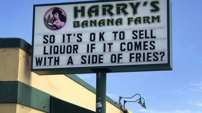 at Harry's Banana Farm bar in Lake Worth Beach, Florida on May 22, 2020.