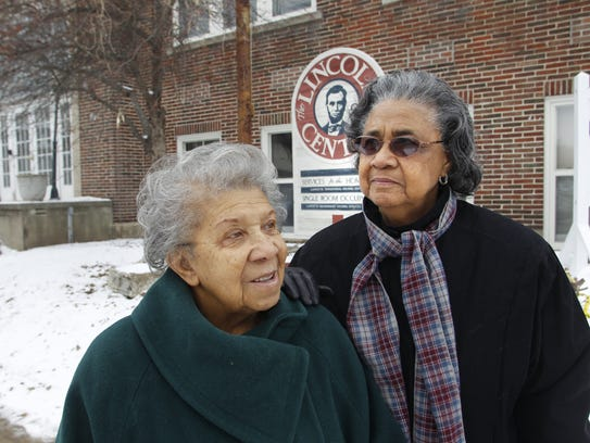 Florence Hubbard, right, poses with Dorothy Ferguson