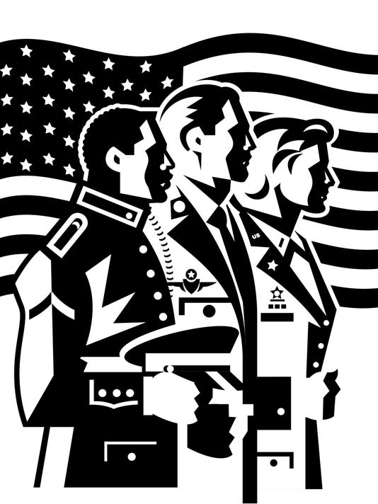 Military men and woman in front of flag  Layered  Also available in color, 067C0598    ' Remember those who fought for us  ' A day to remember