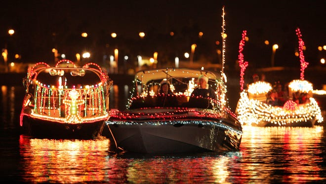 The parade on Tempe Town Lake, presented by SRP, features as many as 50 lit-up boats of all sizes as they glide across. There also will be a fireworks show and a visit from Santa Claus.