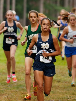 Elmira Notre Dame's Alyssa Walker in the Section 4 cross country championship held at Chenango Valley State Park on Thursday, November 2, 2017.