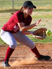 Tularosa senior shortstop Jade Yousif  catches a ground ball at practice Thursday.