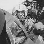 Arizona Gov. Raul Castro went for a ride in an Air Force F-15 Eagle with Maj. T.C. Skanchy at Luke Air Force Base in July 1975.