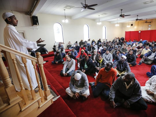 Imam Afrah Ali Aden leads a service at the Masjid An-Noor Mosque in Des Moines Friday, Jan. 8, 2016.
