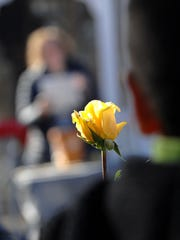 West Ridge Elementary school Teachers, students and family members dedicated a gazebo in honor of Randee Gerson, a special education teacher who lost her battle with endometrial cancer in 2015. Randee Gerson had been teaching in the borough for 12 years. Student were given yellow roses to place by the gazebo. Gerson's family was also present at the event in Park Ridge, NJ. November 23, 2016.