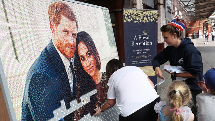 A Lego picture is assembled ahead of the royal wedding