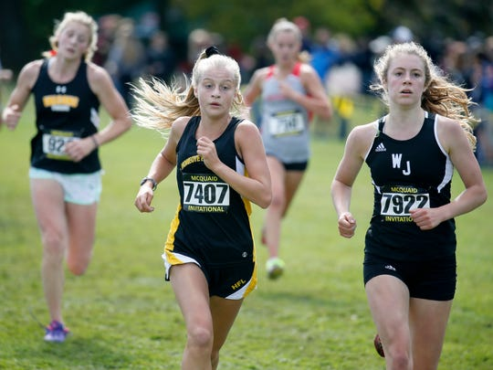 Honeoye Falls-Lima's Payton Reed finished 13th in the Girls Varsity AA (Seeded Medium schools) with a time of 18:48.9 during the 53rd McQuaid Invitational at Genesee Valley Park. Next to her in 12th place was Bryanna Renuart of Walsh Jesuit who passed her to end with a time of 18:47.5.