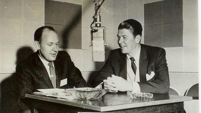 """From the WHKP Picture Archives, this photo shows the late Kermit Edney, owner-operator of WHKP, interviewing Ronald Reagan during an """"in-studio visit"""" to WHKP in 1960."""