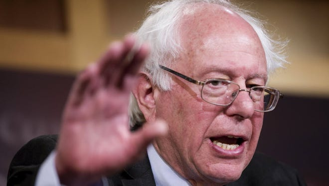 Sen. Bernie Sanders, I-Vt., the top-ranking minority member of the Senate Budget Committee, gestures during a news conference on Capitol Hill on March 11, 2015, to discuss the budget.