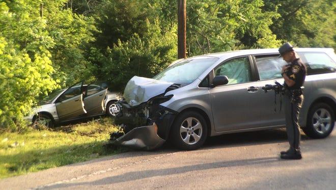 The scene of a crash on Camargo Road Friday morning.