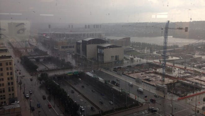 Rain started falling Downtown at about 3 p.m. Friday.