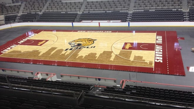 A glimpse of IUPUI's new court at the Fairgrounds Coliseum.