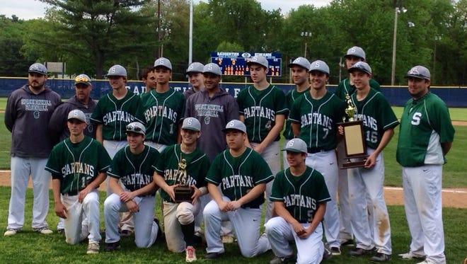The Spackenkill High School baseball team celebrates its second straight Mid-Hudson Athletic League baseball championship on Saturday.