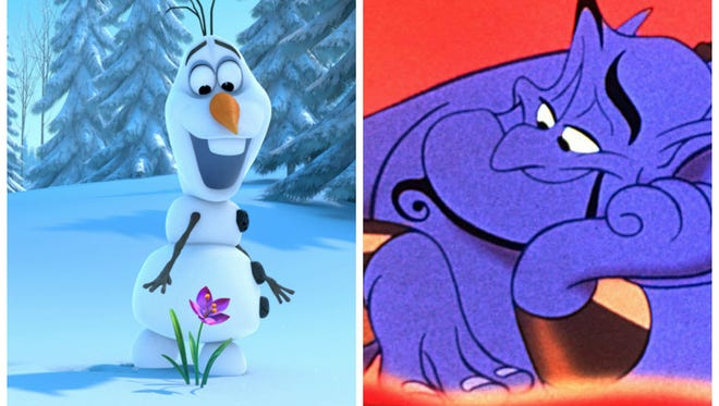 Josh Gad voiced Olaf from 'Frozen'; Robin Williams voiced the Genie from 'Aladdin'